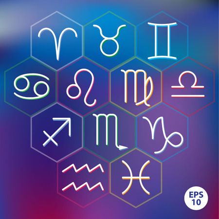 Zodiac signs into hexagonal frames on blurred background Vector