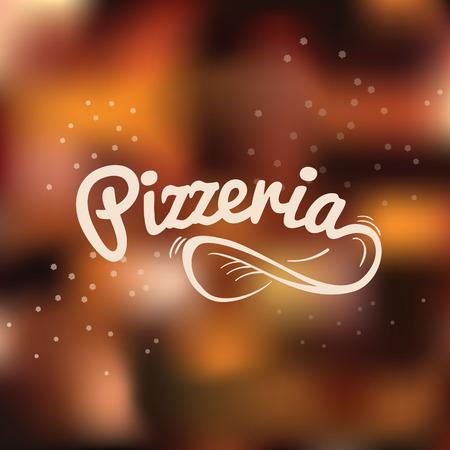 ピッツェリア手描き文字のロゴ。ぼやけたベクトル背景に空気中に生地をスピンします。
