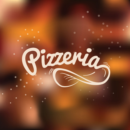 Pizzeria hand drawn lettering logo. Spin the dough into the air on the blurred vector background