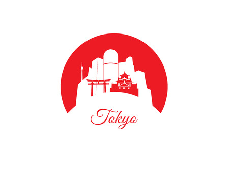 tokyo japan: Vector silhouette of Tokyo, Japan - land of the rising sun. Illustration
