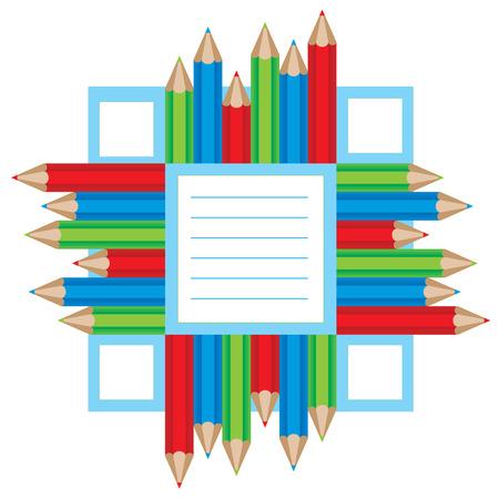 illustration of a color pencils frame. Vector