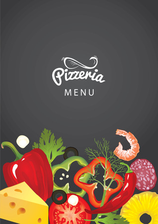An italian pizzeria menu concept. Idea of Identity of restaurant with close up vector pizzas toppings and hand drawn logo on blurred background. Vegetables, sausages, cheese and shrimp as frame.