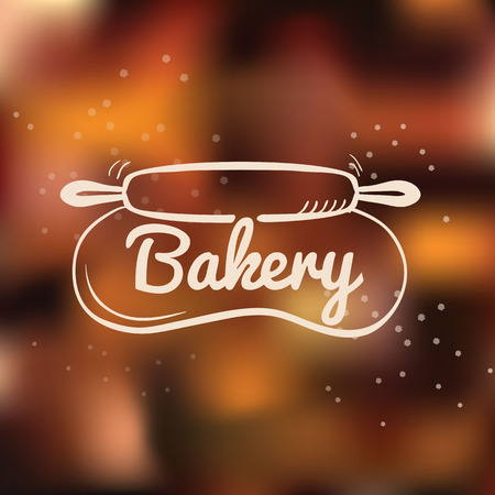 Bakery cafe hand drawn logo with rolling pin stretching the dough Vector