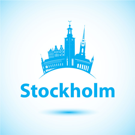 Vector silhouette of Stockholm. Vector logo Иллюстрация
