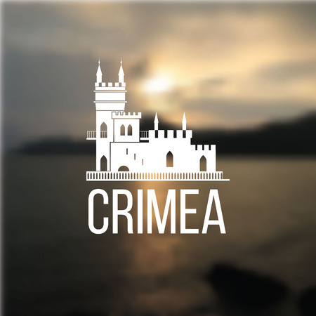 popular tales: Vector linear symbol of Crimea on blurred background. The castle Swallows Nest near Yalta