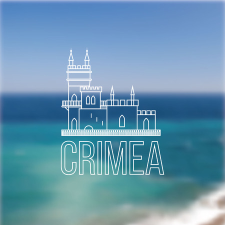 popular tale: Vector linear symbol of Crimea on blurred background. The castle Swallows Nest near Yalta