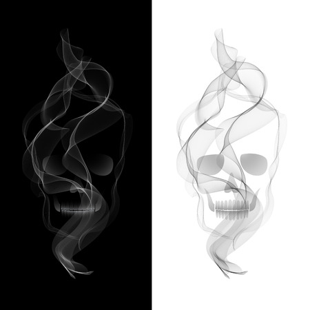 Vector Poisonous Smoky Skull.  No smoking concept Vector