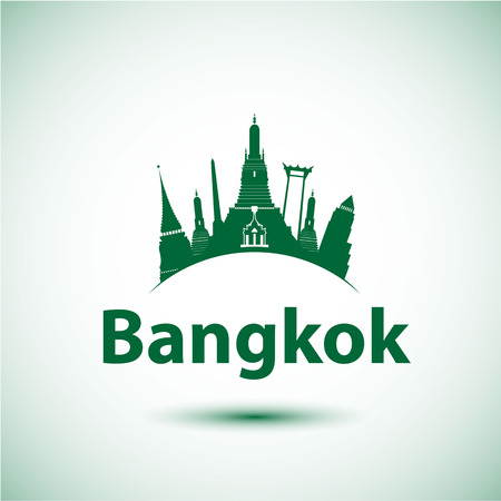 wat arun: Vector silhouette of Bangkok, Thailand. City skyline with landmarks Wat Phra Kaew, Wat Arun and Giant Swing.