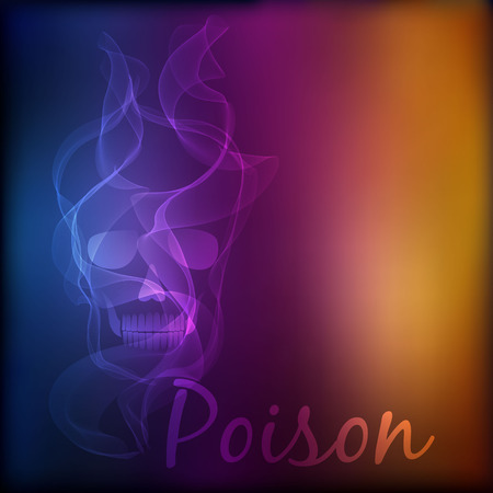 curse: Vector poison Skull on blurred background.  No smoking concept