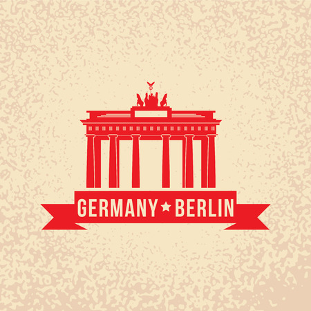 Brandenburg gate - the symbol of Berlin, Germany. Vintage stamp with red ribbon. Vector