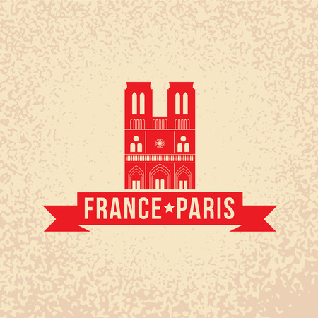 notre dame de paris: Notre Dame de Paris - the symbol of France. Vintage stamp with red ribbon.