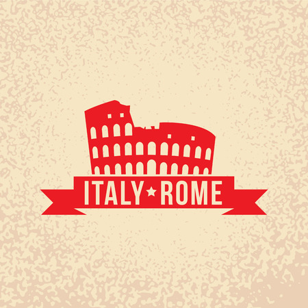 rome italy: Colosseum - the symbol of Rome, Italy. Vintage stamp with red ribbon.