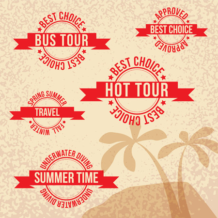 bus tour: Vintage travel stamp with red ribbon. Hot tour, Bus tour, Best choice