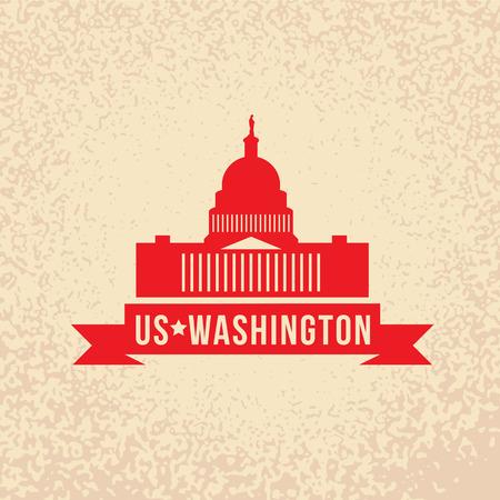アメリカ合衆国議会議事堂 - 米国、ワシントン DC のシンボル。赤いリボンとヴィンテージのスタンプ