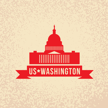 capital building: United States Capitol - The symbol of US, Washington DC. Vintage stamp with red ribbon