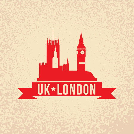 westminster: The Palace of Westminster - the symbol of London, UK. Vintage stamp with red ribbon.