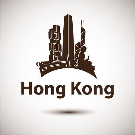 monasteries: Vector silhouette of Hong Kong . City skyline.