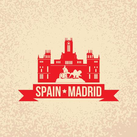 キュベレー宮殿 - スペイン、マドリッドのシンボル。赤いリボンとスタンプ