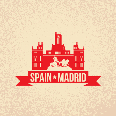 edifice: Cybele Palace - The symbol of Spain, Madrid. Vintage stamp with red ribbon Illustration