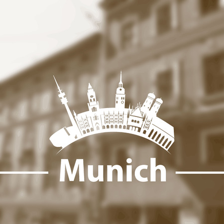 m�nchen: Vector skyline of Munich on blurred background with an old street.