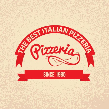 Italian cuisine Retro Vintage Labels Logo design. Hand drawn lettering with Spin the dough into the air and red ribbons on paper background. Best pizzeria since.