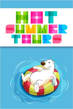 Cute polar bear cartoon character with rubber ring swimming with swim ring and drinking cocktail. tours. Vector