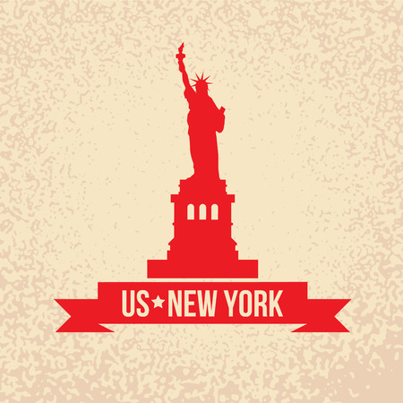 new york silhouette: Statue Of Liberty - The symbol of US, New York. Vintage stamp with red ribbon on an old papper background