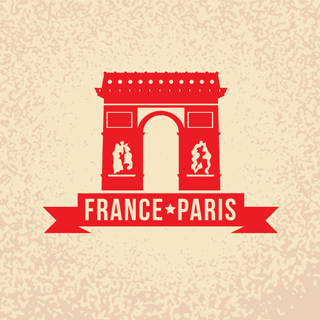 gothic architecture: Arc de Triomphe - The symbol of France, Paris. Vintage stamp with red ribbon