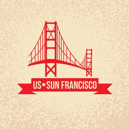 golden gate: Golden Gate bridge - The symbol of US, Sun Francisco.. Vintage stamp with red ribbon Illustration