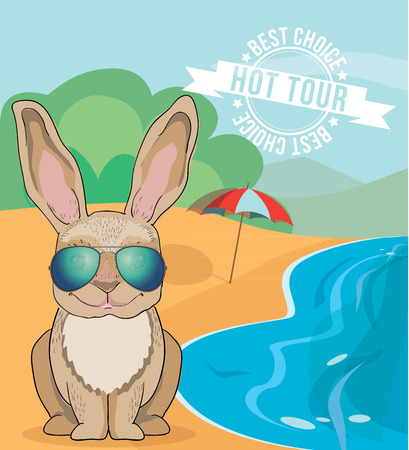 aviator: Cartoon character of Cute rabbit wearing aviator sunglasses sunning on the beach of the ocean. Hot tour banner concept