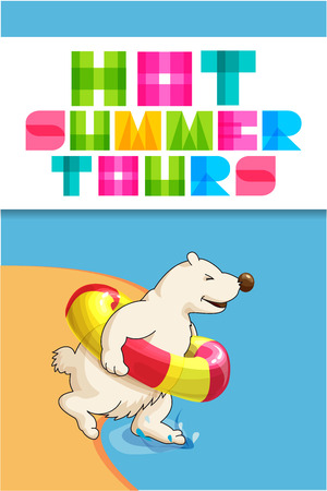 rubber ring: Funny web banner for travel agency. Cute polar bear cartoon character with rubber ring run from beach into the sea. Modern colorful letters Hot summer tours. Illustration