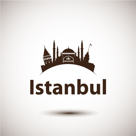 Vector silhouette of Istanbul, Turkey. City skyline Illustration