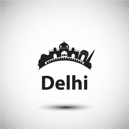 india city: Vector silhouette of Delhi India. City skyline.
