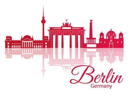 Vector silhouette of Berlin Germany. City skyline. Stock Illustratie