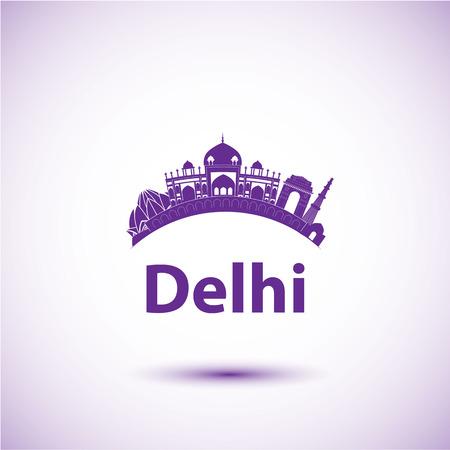 india city: Vector silhouette di Delhi in India. Orizzonte della citt�. Vettoriali