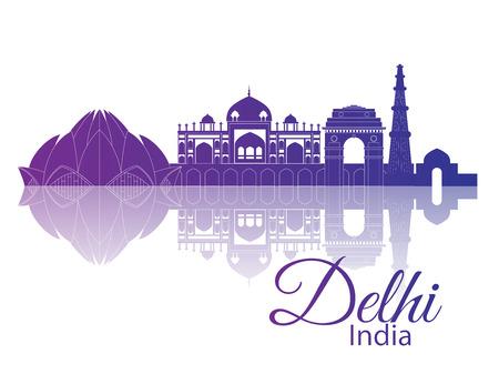 デリー インド。反射都市スカイライン  イラスト・ベクター素材