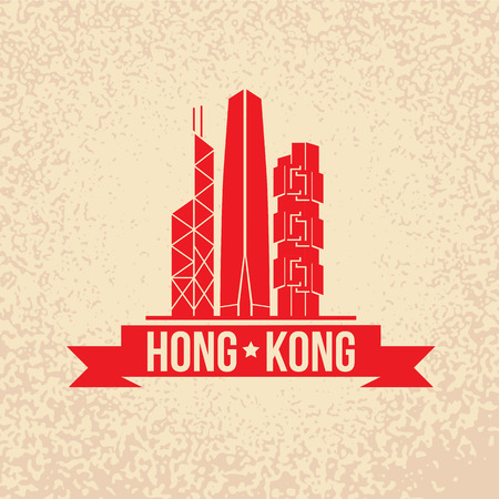 부처님 - 홍콩, 중국의 상징. 빨간 리본 빈티지 스탬프입니다.