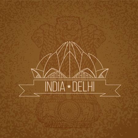 templo: El dise�o del vintage de la India. Templo del Loto - el s�mbolo de la India, Nueva Delhi. Sello con la cinta roja. Vectores