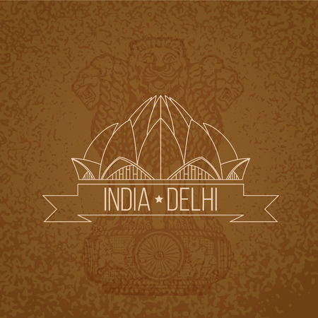 temple tower: Indian vintage design. Lotus Temple - the symbol of India, Delhi. Stamp with red ribbon.