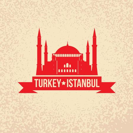 turkey istanbul: Santa Sofia - il simbolo della Turchia, Istanbul. Timbro con il nastro rosso.