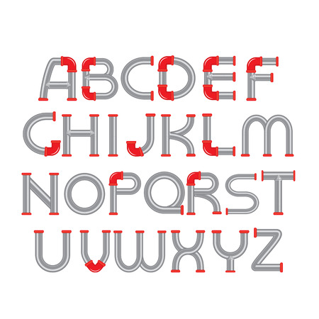 Water Pipe Alphabet with red fittings Character Design Template Vector