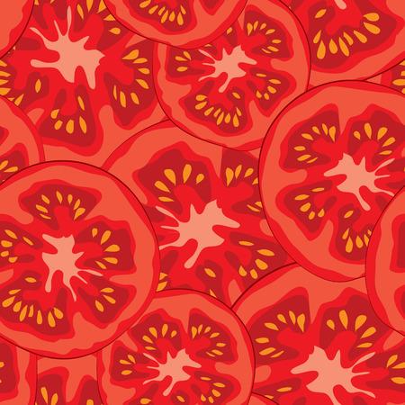 야채 유기농 식품, 잘 익은, 슬라이스 토마토 원활한 패턴 벡터 일러스트 레이 션