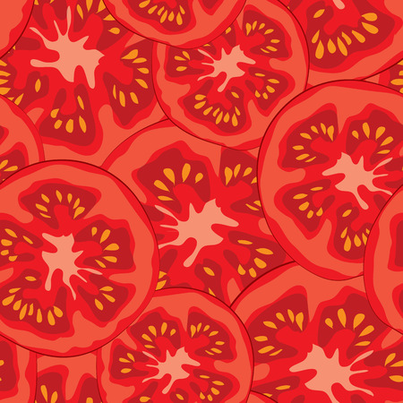 tomato: Vegetable organic food ripe sliced tomato seamless pattern vector illustration Illustration