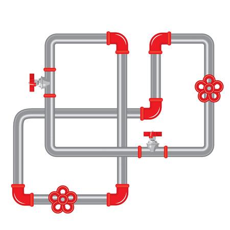 fontaneria: Fondo de tuberías Resumen - colorida ilustración vectorial. Incluye un cepillo patrón.