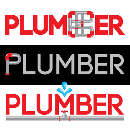 Plumbing Business Icon Vector Set. Plumbing service symbol set. Brand visualization template. Vector illustration symbolizing water pipes, water drops, hot and cold water. Typography proposal. Editable.