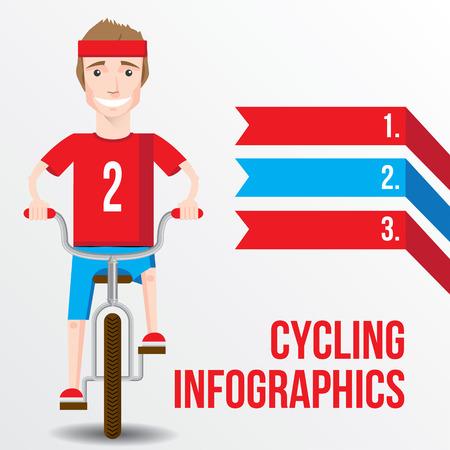 bike vector: Bicicletas concepto infograf�a con vista fron de sonriente hombre de dibujos animados que monta en una bicicleta. Ilustraci�n del vector.