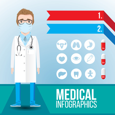 ovaries: Medical infographic. Young smiling man doctor with stethoscope on blue background. Set of flat icons as bonus. Cartoon character for identity of a clinic