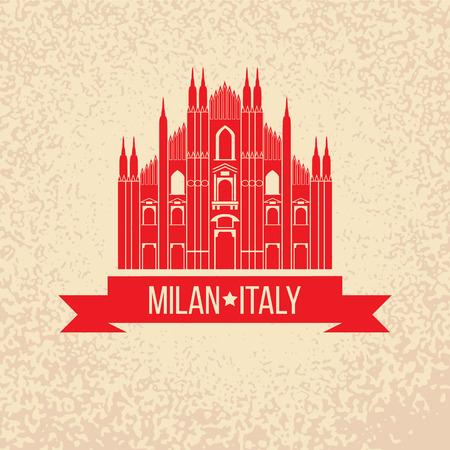 ミラノ、イタリアのシンボルとグランジ ゴム印