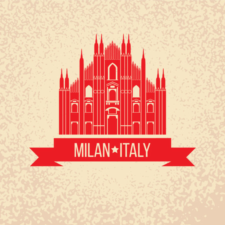 Grunge rubber stamp with symbol of Milan, Italy 向量圖像