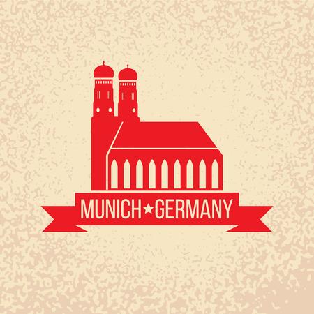 ミュンヘン市のラベルです。ミュンヘン大聖堂、ミュンヘンで Liebfrauenkirche。旅行ドイツ エンブレム。ババリアの首都標識です。  イラスト・ベクター素材